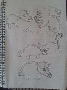 Initial Sketches of Dinosaurs
